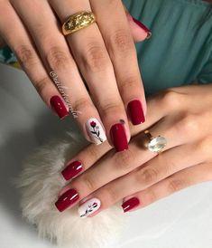 Accent Nail Designs, Elegant Nail Designs, Fall Nail Art Designs, Red Ombre Nails, Gold Nails, Cute Nails, Pretty Nails, Korea Nail Art, Luxury Nails