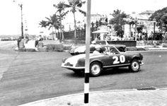 An Alfa Romeo Giulietta Spider and a Chevrolet Corvette auto racing in Havana, Cuba