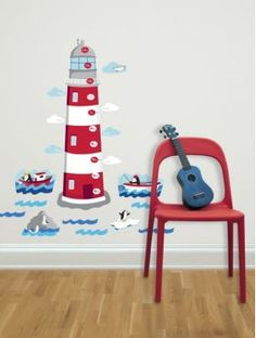 Lighthouse Height Chart Wall Sticker from Peanut & Pip Kids Decor, Diy Home Decor, Room Decor, Boys Wall Stickers, Wall Decals, Curtains Uk, Bedroom Curtains, Nautical Bedroom, Height Chart