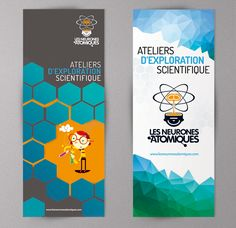 Neurones atomiques: Ateliers d'exploration Scientifique à Montréal #graphic #design #science #stand #up #kakemono #rolls