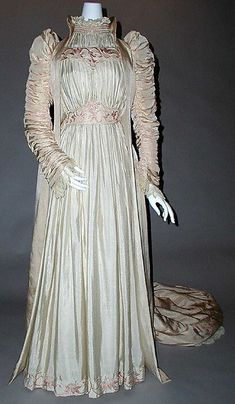 """Ruched silk Artistic dress by Liberty of London, British, 1891. Label: """"Liberty & Co./Artistic and Historic Costume Co./222 Regent St. W"""""""