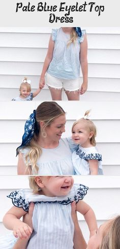 Pale Blue Eyelet | Everley & Me | Omaha Based Mommy & Me Style Blog... Hair Scarf Blue Blouse Embroidered Dress Kids Womens Bows Matching Outfits Family, Mother/Daughter Photoshoot #summerhairstylesBraids #summerhairstylesForSwimming #Shortsummerhairstyles #summerhairstylesPonytail #Coolsummerhairstyles