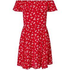 Miss Selfridge Red Floral Print Bardot Skater Dress (3.170 RUB) ❤ liked on Polyvore featuring dresses, red, floral print dress, red mini dress, short red dress, floral skater dress and summer dresses