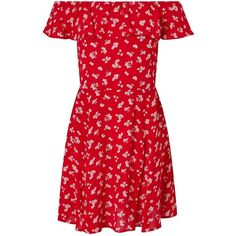Miss Selfridge Red Floral Print Bardot Skater Dress ($55) ❤ liked on Polyvore featuring dresses, red, summer dresses, mini dress, loose dresses, red floral dress and short red dress
