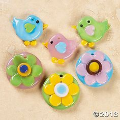 Fused Glass Spring Bird & Flower Charms