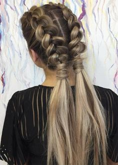 Pretty Holiday Hairstyles Ideas: Open-Ended Double Dutch Braids