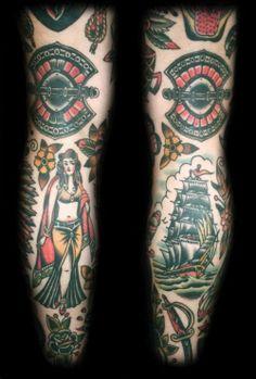 Traditional Tatto, legs by Spider Murphy Tattoo, Stuart Cripwell