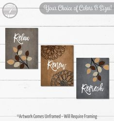 Beige Brown Grey Tan BATHROOM Wall Art Prints, Relax Renew Refresh Quotes, Flowers Leaves, Neutral Bathroom Decor, Set of (3) UNFRAMED