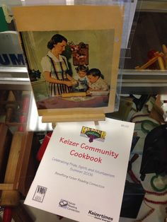 2015 Keizer Museum display Christmas in the Kitchen. Community cookbook on sale for $2.50