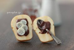 These handmade Toast Earrings with Chocolate and Nut Spread with Banana Slices make a truly unique stocking stuffer gift!