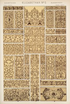 Elizabethan design No.2, page from The Grammer of Ornament by Own Jones, 1910