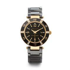 Anne Klein Dress Crystal Black Ceramic Bracelet Watch 109416BKBK #AnneKlein #Dress