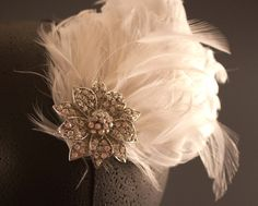 White Bridal Feather Fascinator with Crystal by BelledeBenoir, $25.00