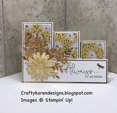 Fun Fold Cards, Folded Cards, Card Making Tutorials, Making Ideas, Side Step Card, Stepper Cards, Sunflower Cards, Card Making Templates, Shaped Cards