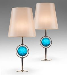 Roberto Rida: A Pair of Unique Blue Glass and Nickel Lamps | From a unique collection of antique and modern table lamps at http://www.1stdibs.com/furniture/lighting/table-lamps/