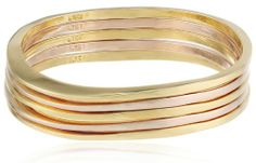 """Jules Smith """"Surf"""" 14k Gold and Rose Plated Bangle Bracelet Set #JulesSmith #Surf #Gold #Rose #Bangle #Bracelet #jewelry #gifts"""