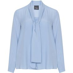 Persona Light-Blue Plus Size Silk blend blouse ($160) ❤ liked on Polyvore featuring tops, blouses, plus size, womens plus tops, bow neck blouse, long blouse, v neck blouse and bow collar blouse