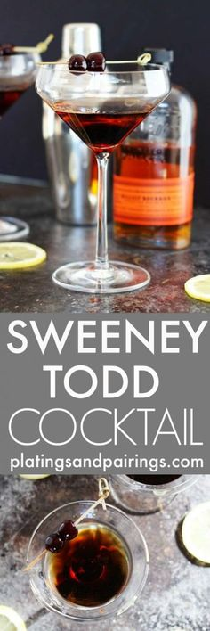 The Sweeney Todd combines bourbon, crème de cacao and a pinch of cayenne for a sweet and smoky cocktail that hits you with heat at the end!   platingsandpairings.com