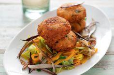 Polpette di salmone e cous cous con verdure