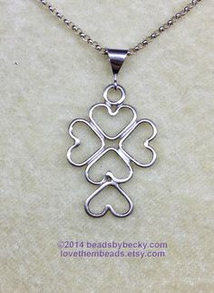 Sterling Silver Love Cross  - Open Heart soldered wire pendant with 18 inch sterling silver 1.5mm rolo chain - pinned by pin4etsy.com