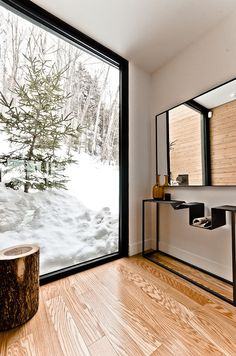 Snow and outdoors are the ever changing artwork / design focus of this incredible Contemporary home with modern organic minimalist details ♥♥ | Via Sauvagia Cozy Haven Nested in the Laurentians, Canada: Via Sauvagia House