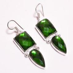 Dazzling Faceted Mystic Topaz Quartz .925 Silver Handmade Earring Jewelry SJA235 #Handmade