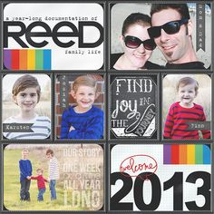 love all of it! he words on the pic of the kids... the bold last name - the name banners! might have to steal this one! :)
