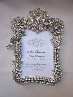Picture frame from vintage rhinestone jewelry