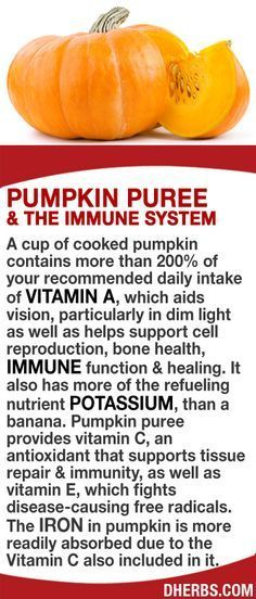 A cup of cooked pumpkin contains more than 200% of your RDA of vitamin A, which aids vision, particularly in dim light as well as helps support cell reproduction, bone health, immune function & healing. It has more of the refueling nutrient potassium, than a banana. Pumpkin puree provides vitamin C, that supports tissue repair & immunity, & vitamin E, which fights disease-causing free radicals. The iron in pumpkin is more readily absorbed due to the Vitamin C also included in it. #dherbs…