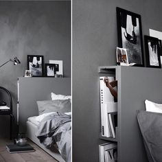 Great solution for a headboard. The construction is made out of Ikea elements and painted in the same color as the wall. 📓 Styling by Pella Hedeby, photographed by Ragnar Omarsson for Ikea Livet Hemma. Home Bedroom, Modern Bedroom, Bedroom Decor, Home Bar Accessories, Casa Loft, Ideas Para Organizar, Man Cave Home Bar, Dream Decor, House Rooms