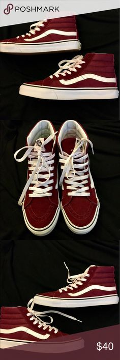 Vans SK8 Hi, Maroon/White, Women's US Size 8 In perfect condition. Only worn once. Vans Shoes Sneakers