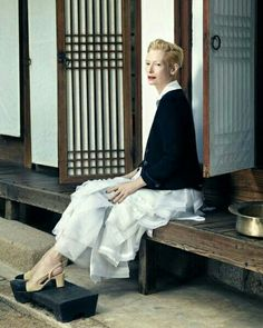 TILDA SWINTON BY HONG JANG HYUN FOR 19th ANNIVERSARY ISSUE OF VOGUE KOREA