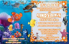Finding Nemo Baby Shower Invitations Awesome Finding Nemo Baby Shower Party Ideas 1 Of 14 Boy Baby Shower Themes, Baby Shower Games, Baby Shower Parties, Baby Boy Shower, Shower Party, Baby Messages, Printable Baby Shower Invitations, Finding Nemo, New Baby Products