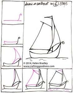 How to Draw a Sail Boat in 6 Steps : Learn To Draw Kawaii Drawings, Doodle Drawings, Easy Drawings, Doodle Art, Drawing Lessons, Drawing Techniques, Drawing Tips, Art Lessons, Boat Drawing