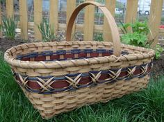 Large Williamsburg Market Basket  Handwoven in Blue and Brown - stained using my own stain made from pecan shells -. $65.00, via Etsy.