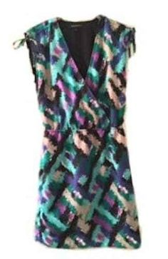 Banana Republic Faux Wrap Dress Tie Sides On Sleeves V-Neck Printed Dress Size 4 #BananaRepublic #Casual