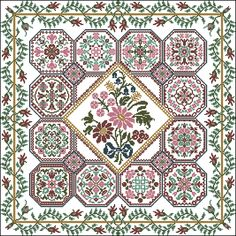 Flower Patch - by Papillon Creations Cross Stitch Sampler Patterns, Cross Stitch Borders, Cross Stitch Samplers, Cross Stitch Kits, Cross Stitch Charts, Cross Stitch Designs, Cross Stitching, Cross Stitch Pillow, Cross Stitch Rose