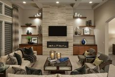 18 Lovely Living Room Designs With Wall Mounted TV - Decoration, Room Decoration, Decoration Appartement, Home Decor, Bedroom Decor Linear Fireplace, Fireplace Shelves, Fireplace Built Ins, Home Fireplace, Living Room With Fireplace, Fireplace Surrounds, Fireplace Design, Fireplace Remodel, Wall Mounted Fireplace