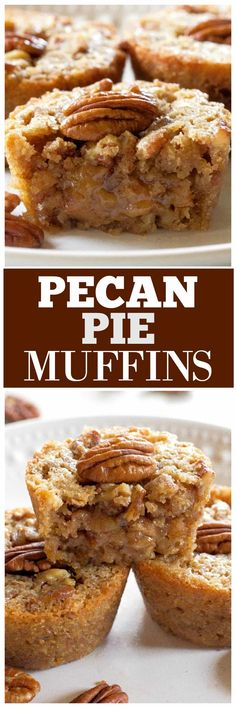 Pecan Pie Muffins have only 5 ingredients!-Pecan Pie Muffins have only 5 ingredients! These Pecan Pie Muffins are a mix between a pie and a muffin. They have a muffin texture with a soft gooey inside like a pecan pie. Pecan Pie Muffins, Pecan Pie Cupcakes, Coffee Cupcakes, Pecan Pies, Muffin Tin Recipes, Cookie Recipes, Dessert Recipes, Food Cakes, Cupcake Cakes