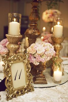 vintage baroque wedding centerpiece r Candle Centerpieces, Wedding Table Centerpieces, Wedding Table Numbers, Reception Decorations, Candles, Vintage Centerpiece Wedding, Feather Centerpieces, Centerpiece Ideas, Victorian Wedding Themes