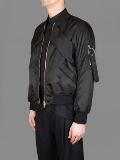 GIVENCHY NYLON BOMBER WITH TWO POCKETS, BAND DETAILS AND KEYCHAIN DETAIL ON THE MILITARY POCKET