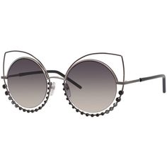 Marc Jacobs Metal-Rim Gradient Cat-Eye Sunglasses w/ Rhinestones ($295) ❤ liked on Polyvore featuring accessories, eyewear, sunglasses, pewter, marc jacobs, marc jacobs sunglasses, marc jacobs eyewear and marc jacobs glasses