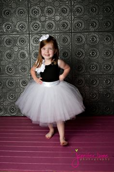 Flower Girl Dress, Flower Girl Dresses, Tutu Skirt, tulle, BLACK WHITE tutu. $150.00, via Etsy.