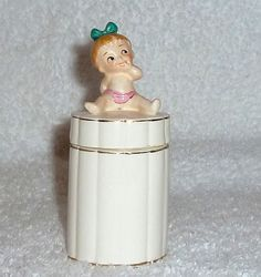 Vintage Commodore Japan Bobby Pin Holder or Qtips Jar Baby Girl by Bobby Pin Holder, Girls Vanity, Vintage Bathrooms, Kitsch, Pink Girl, Pink And Green, Bobby Pins, Little Girls, Jar