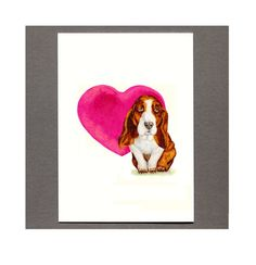 Basset Hound Heart Card 5x7 Art Print by MILESTOGOwithALI on Etsy, $4.99