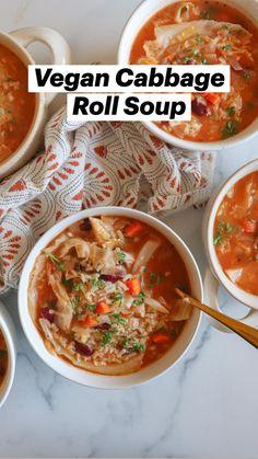 Supper Recipes, Best Dinner Recipes, Healthy Soup Recipes, Vegan Recipes Easy, Vegetarian Soup, Vegan Soup, Vegetarian Recipes, Vegan Cabbage Rolls, Cabbage Roll Soup