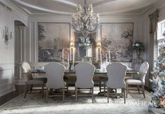 A pair of sepia-colored panels depicting scenes of Italy dominate a wall in the cool dining room. - Photo: Werner Straube / Design: Diane Young