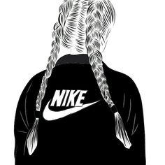 Tumblr Girl Drawing, Tumblr Drawings, Girl Drawing Sketches, Girly Drawings, Outline Drawings, Girl Sketch, Cool Art Drawings, Black And White Girl, Black Girl Art