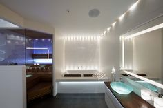 Spa and sauna lightning, Cariitti shop Spa Design, House Design, Bathroom Photos, Bathroom Ideas, Bathrooms, Joko, Jacuzzi, Lamp Light, Bathroom Lighting