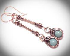 Copper dangle wire earrings with herringbone drop bead by JCLwire on Etsy Hanging Earrings, Wire Wrapped Earrings, Copper Earrings, Copper Jewelry, Wire Jewelry, Beaded Jewelry, Jewelery, Copper Wire, Copper Tubing